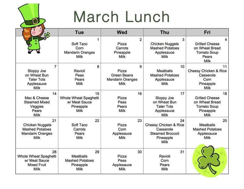 Lunch menu miss vernon 39 s classroom website for Daycare food menu template